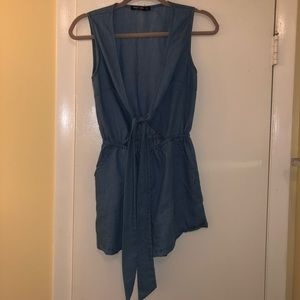 Denim romper with open front